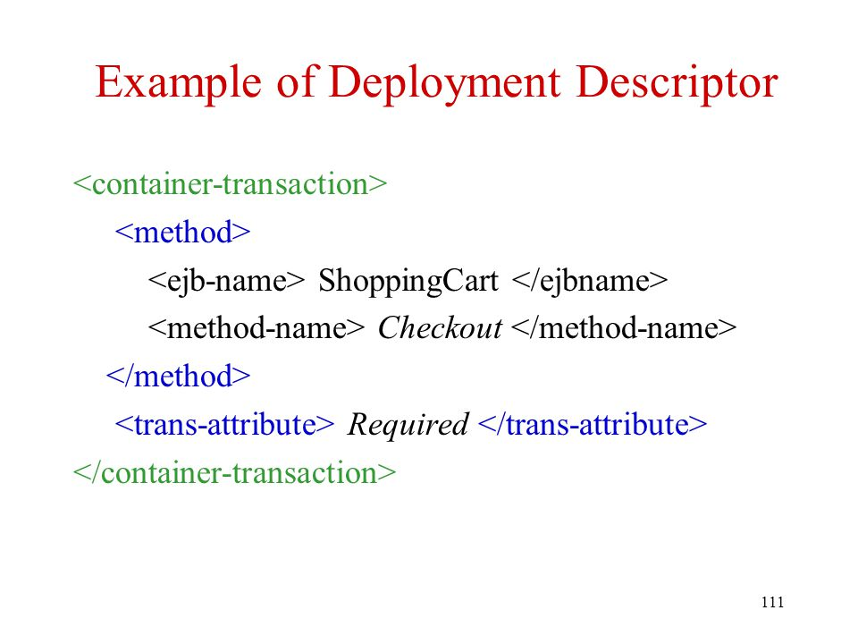 Example of Deployment Descriptor