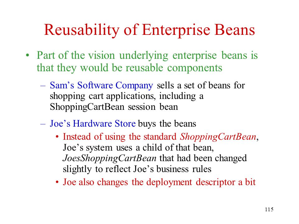 Reusability of Enterprise Beans