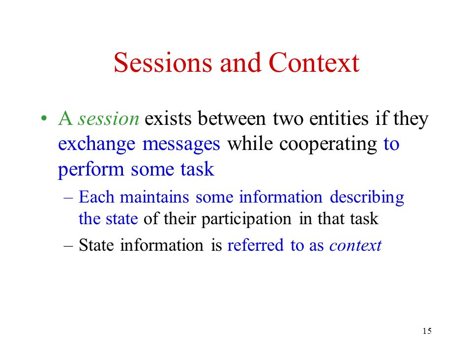 Sessions and Context A session exists between two entities if they exchange messages while cooperating to perform some task.