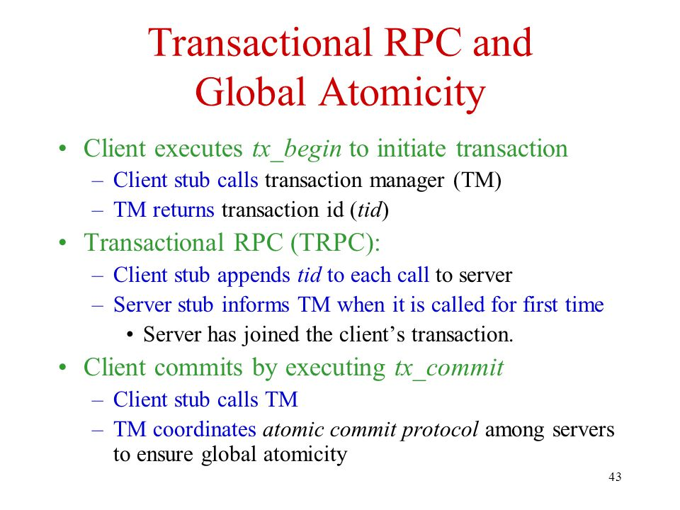 Transactional RPC and Global Atomicity