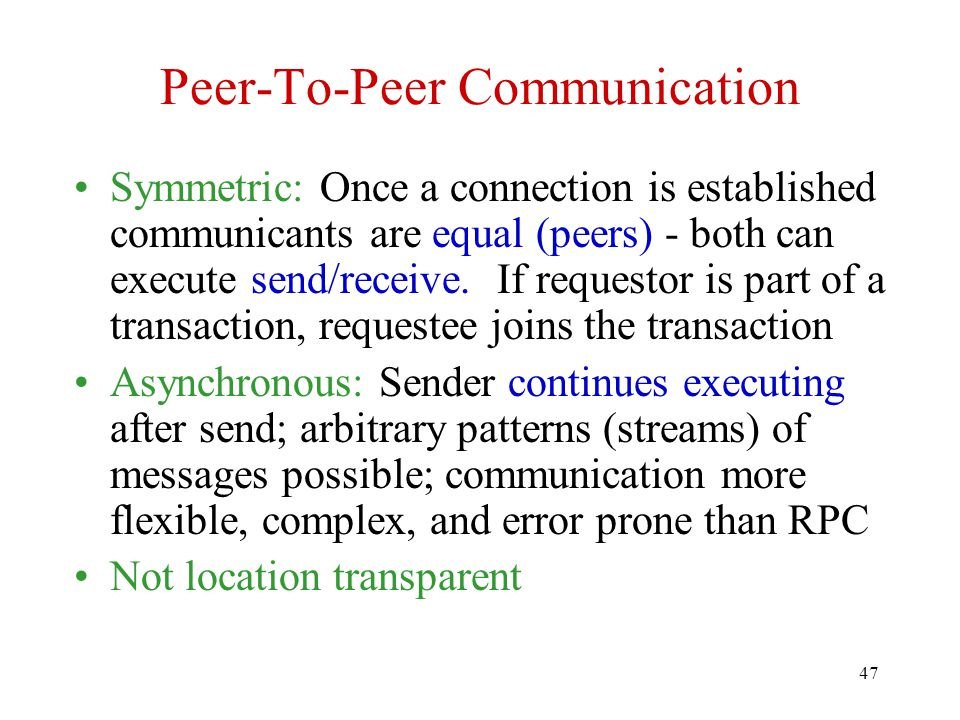 Peer-To-Peer Communication