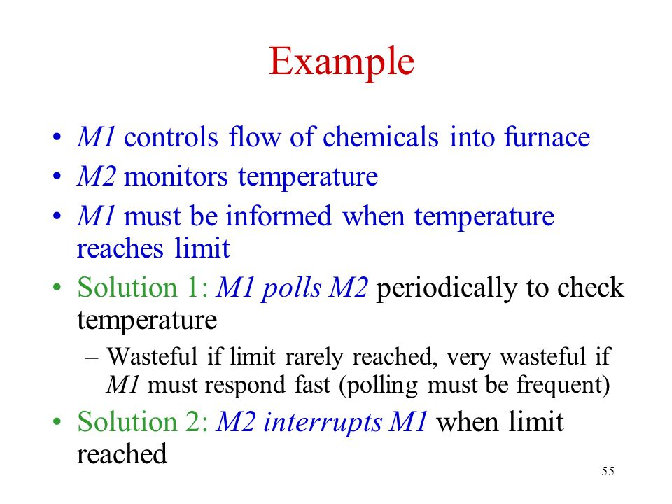 Example M1 controls flow of chemicals into furnace