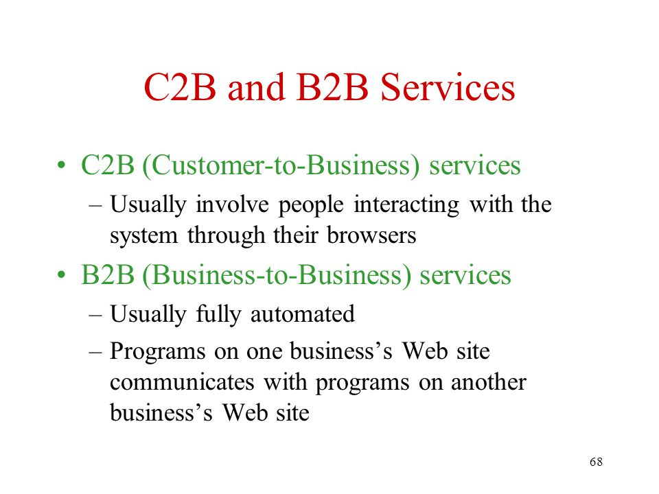 C2B and B2B Services C2B (Customer-to-Business) services