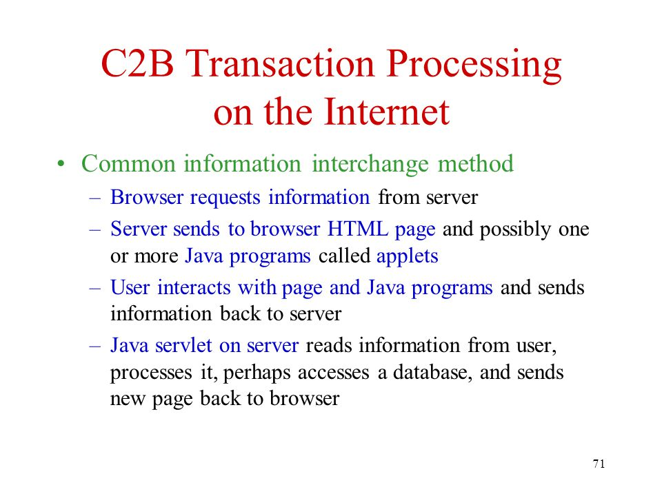 C2B Transaction Processing on the Internet