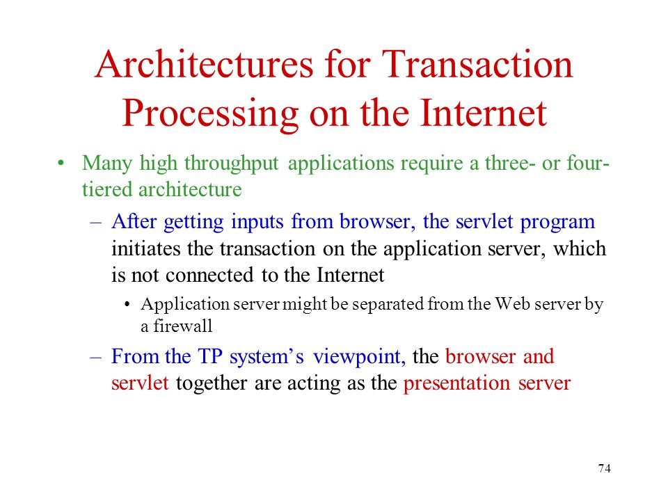 Architectures for Transaction Processing on the Internet