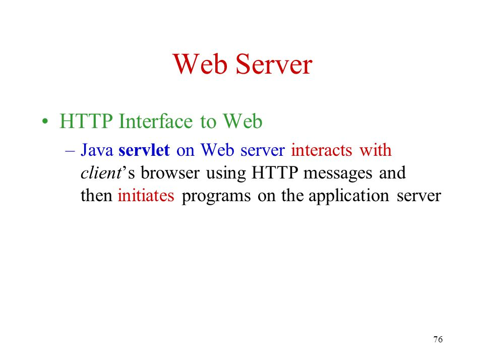 Web Server HTTP Interface to Web