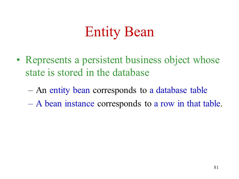 Entity Bean Represents a persistent business object whose state is stored in the database. An entity bean corresponds to a database table.