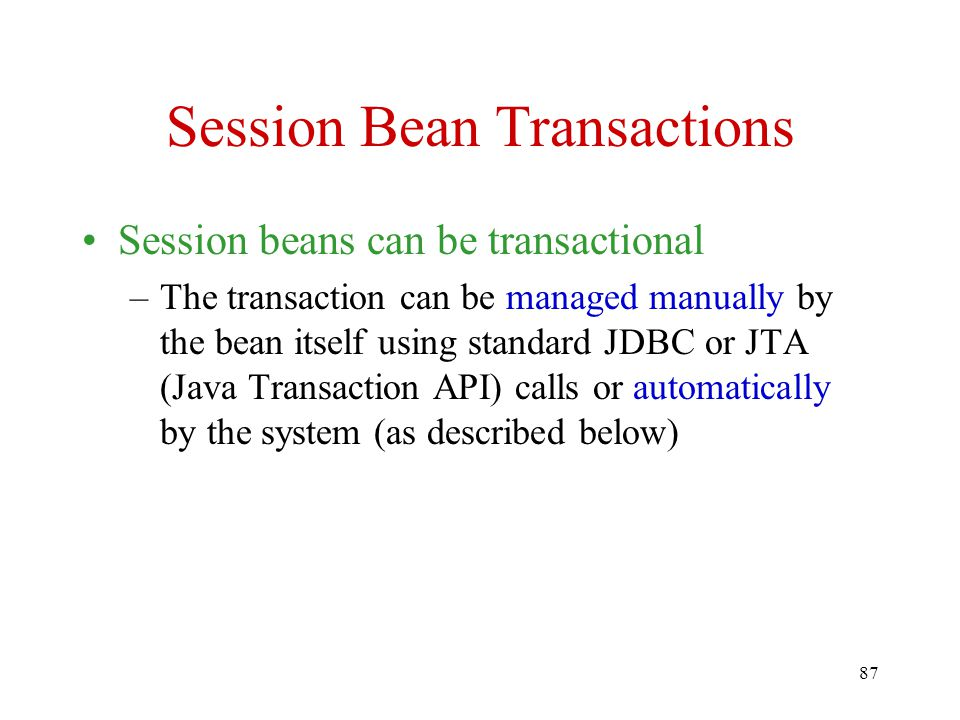 Session Bean Transactions