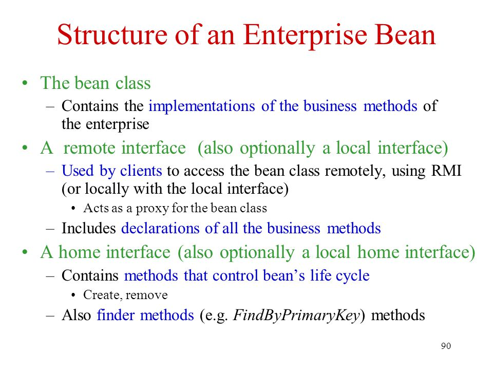 Structure of an Enterprise Bean