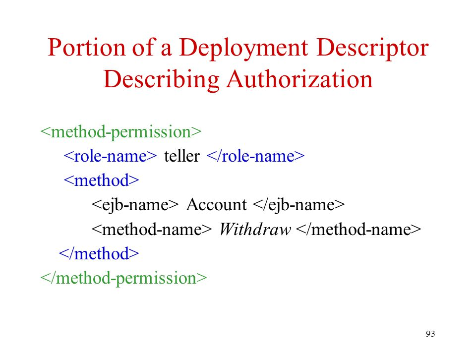 Portion of a Deployment Descriptor Describing Authorization