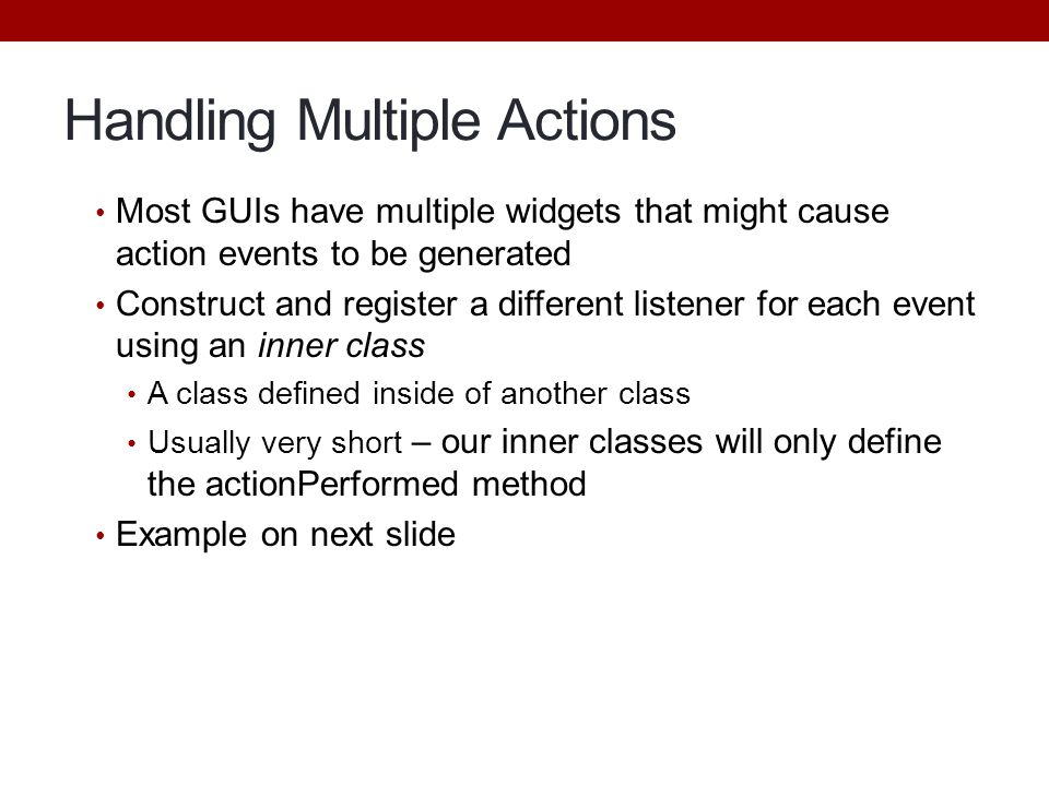 Handling Multiple Actions
