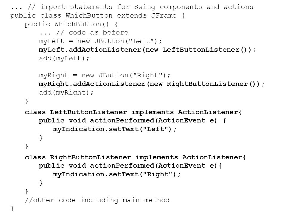 ... // import statements for Swing components and actions