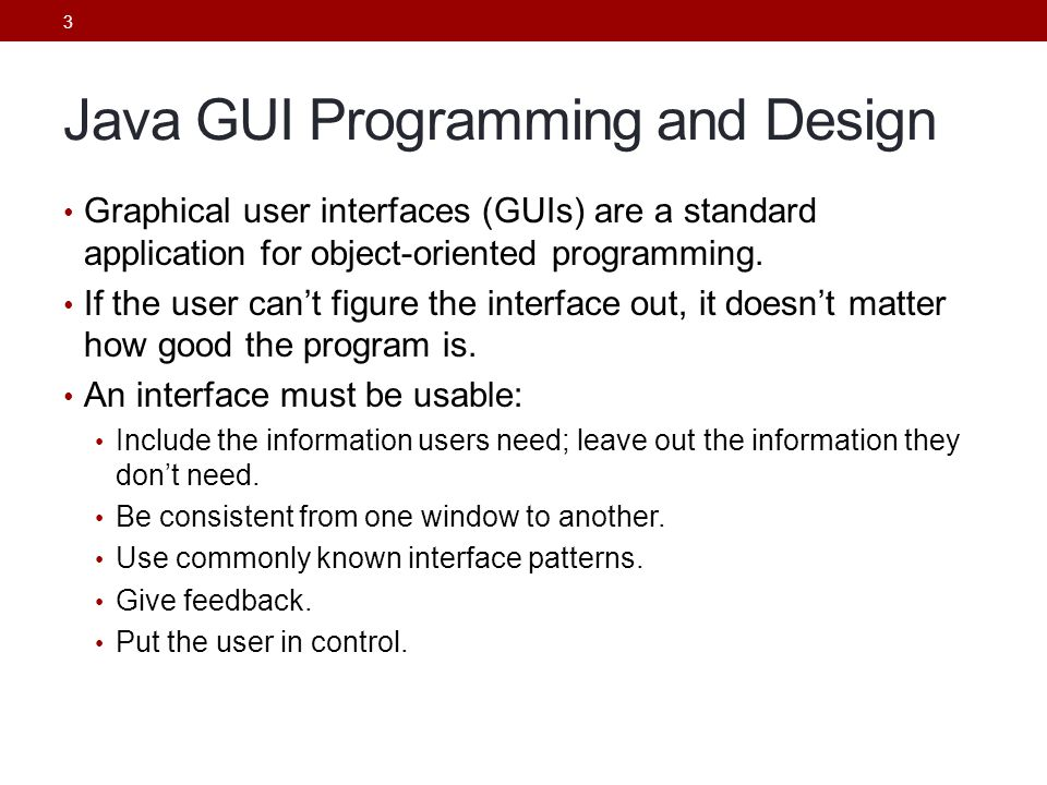 Java GUI Programming and Design