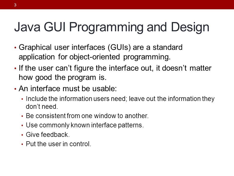 Java GUI Programming and Design