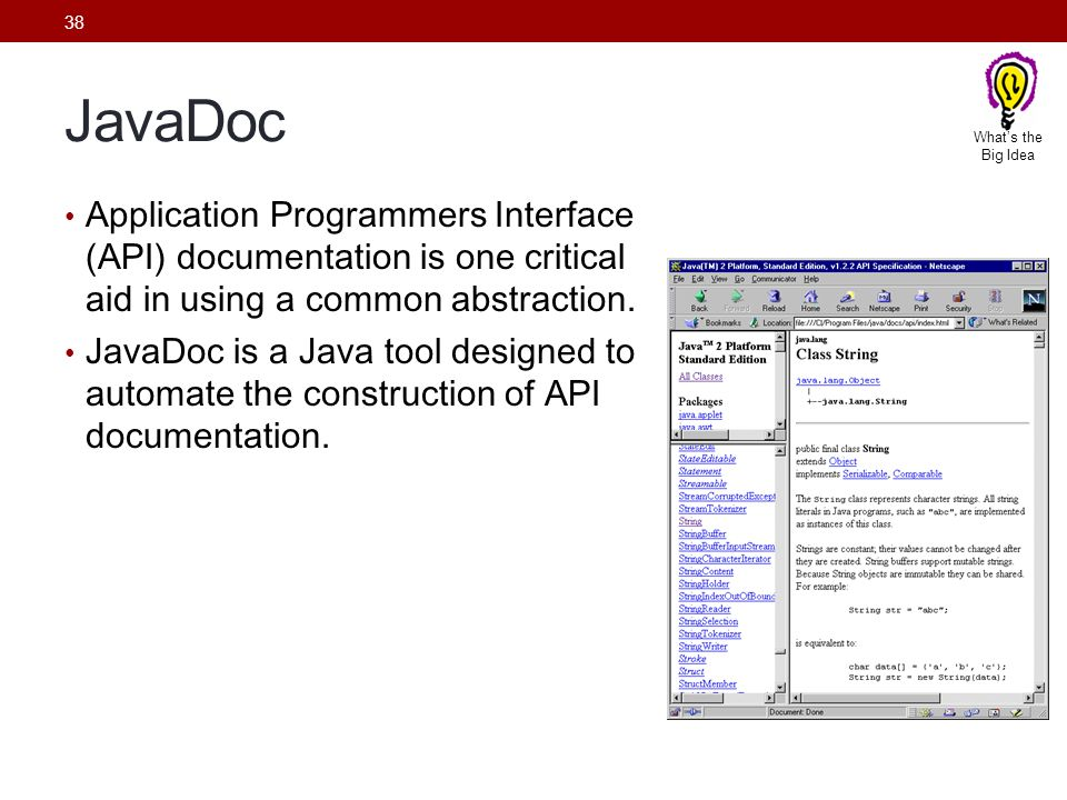 What's the Big Idea. JavaDoc. Application Programmers Interface (API) documentation is one critical aid in using a common abstraction.