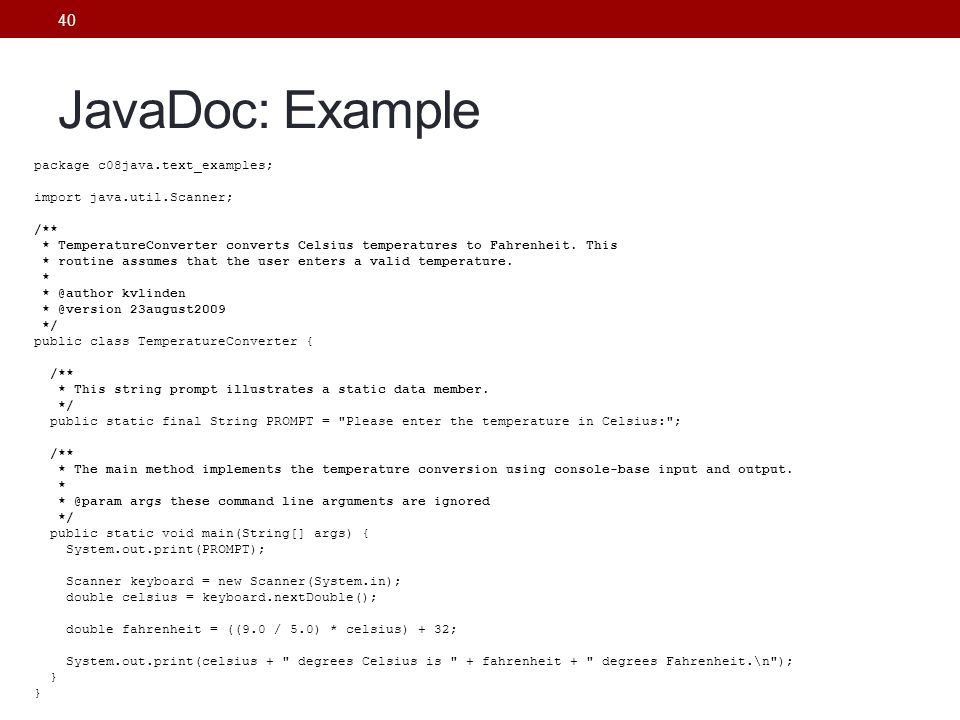 JavaDoc: Example To demo, From Project – Generate JavaDoc.