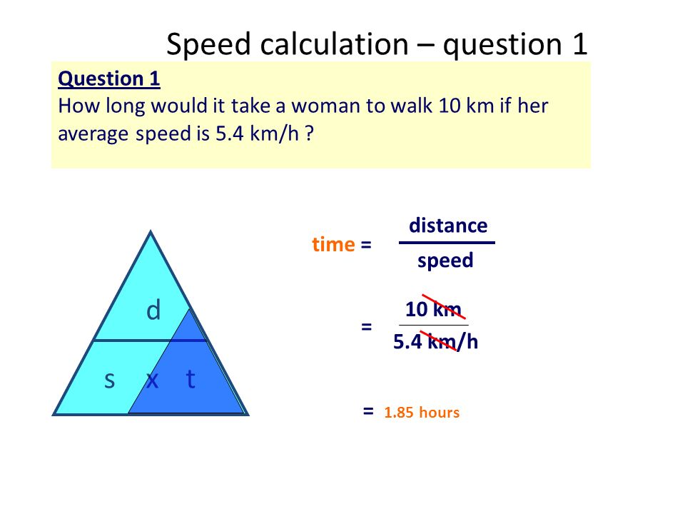 Speed calculation – question 1