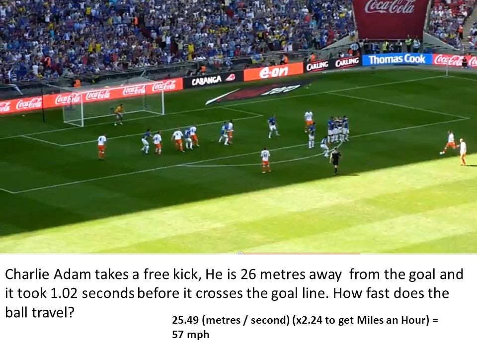 Charlie Adam takes a free kick, He is 26 metres away from the goal and it took 1.02 seconds before it crosses the goal line. How fast does the ball travel
