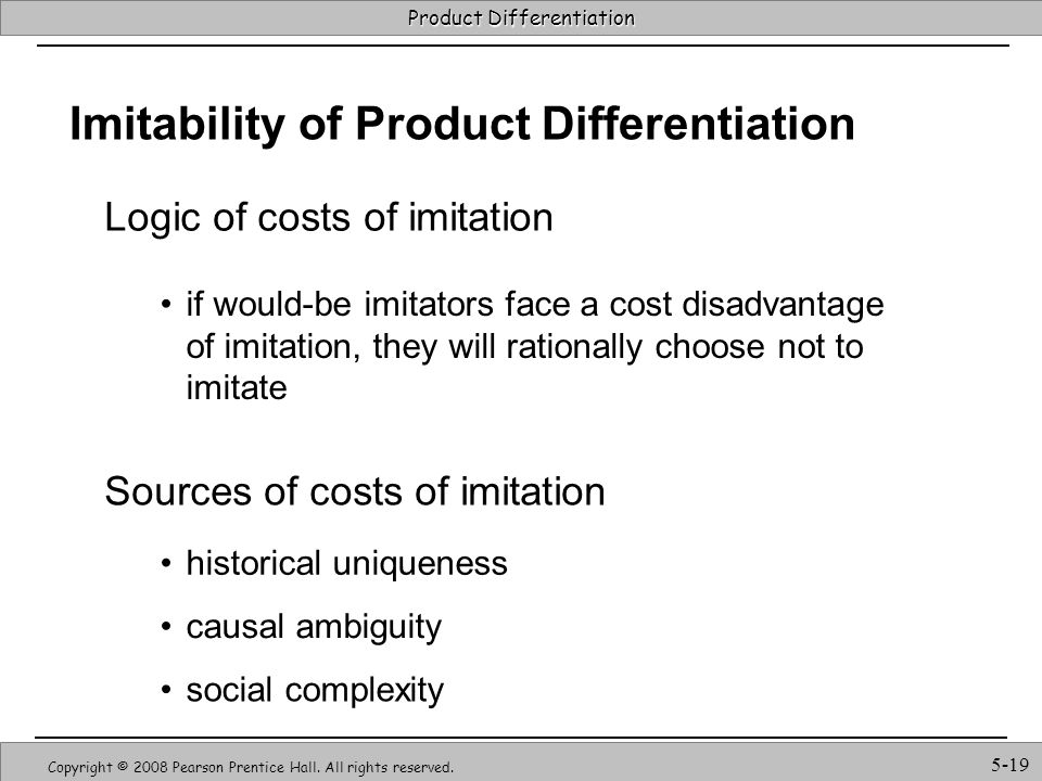 Imitability of Product Differentiation
