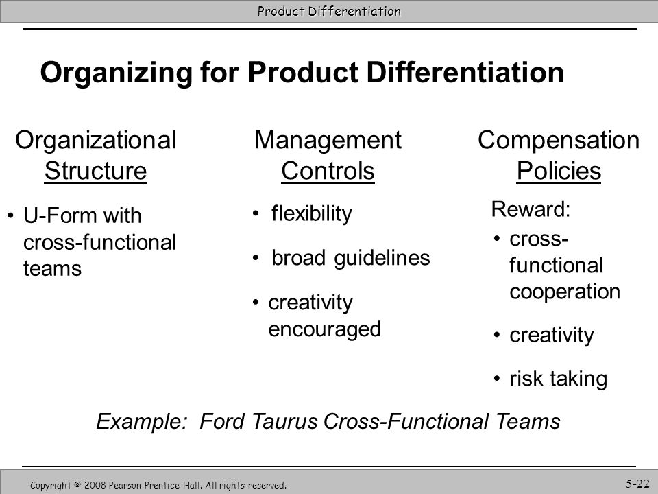 Organizing for Product Differentiation
