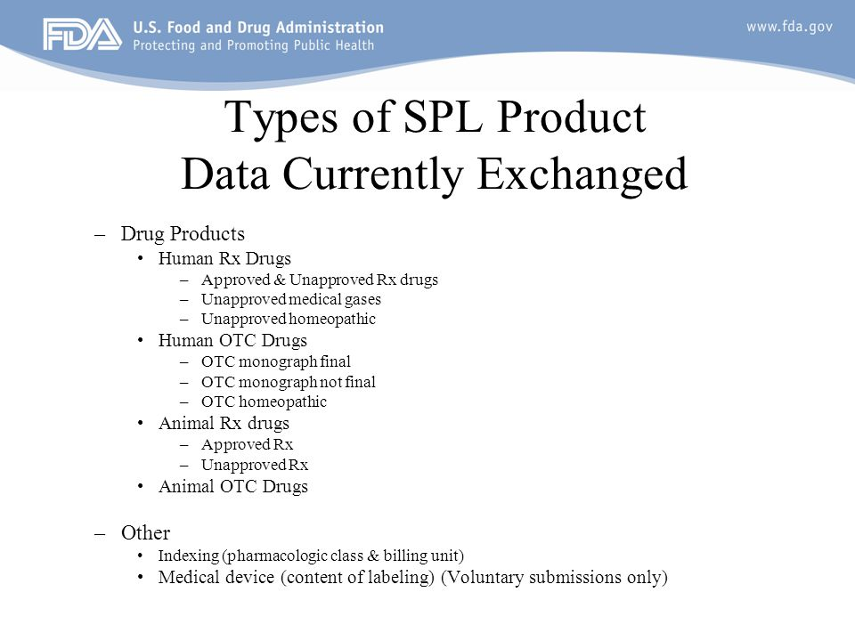 Types of SPL Product Data Currently Exchanged
