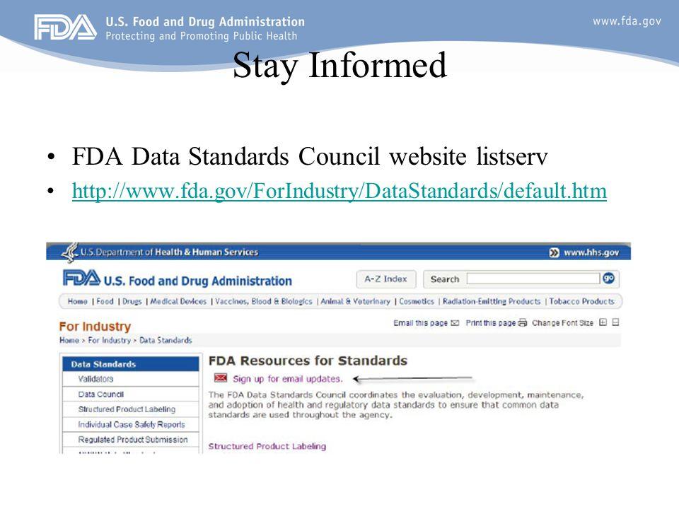 Stay Informed FDA Data Standards Council website listserv