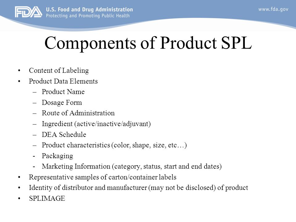 Components of Product SPL