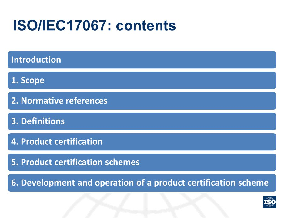 ISO/IEC17067: contents Introduction 1. Scope 2. Normative references