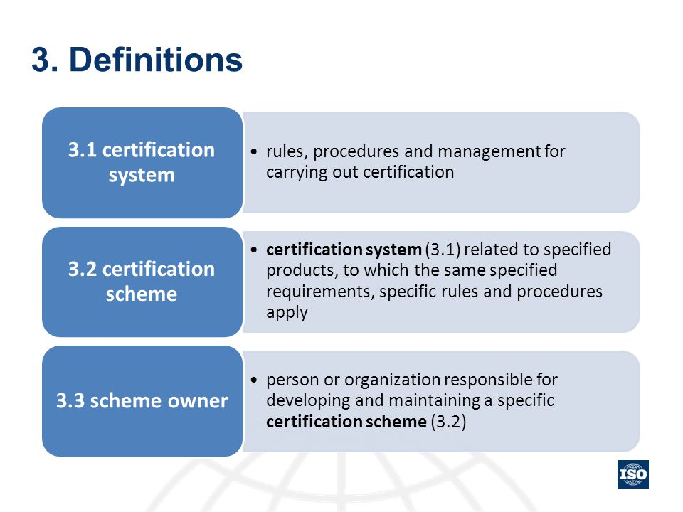 3. Definitions 3.1 certification system 3.2 certification scheme