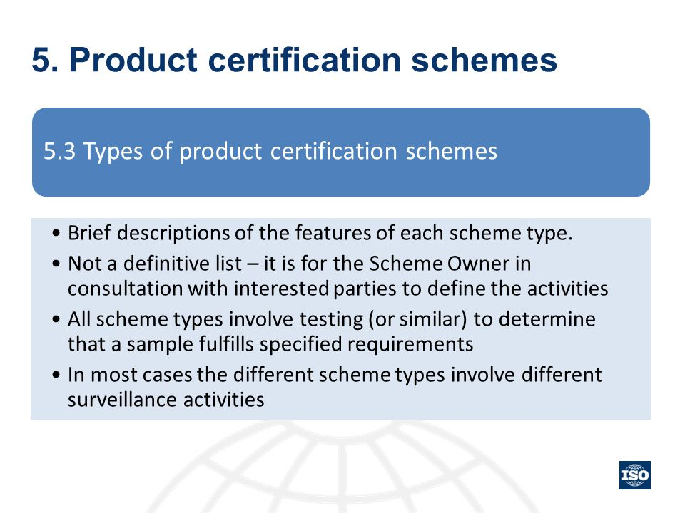 5. Product certification schemes