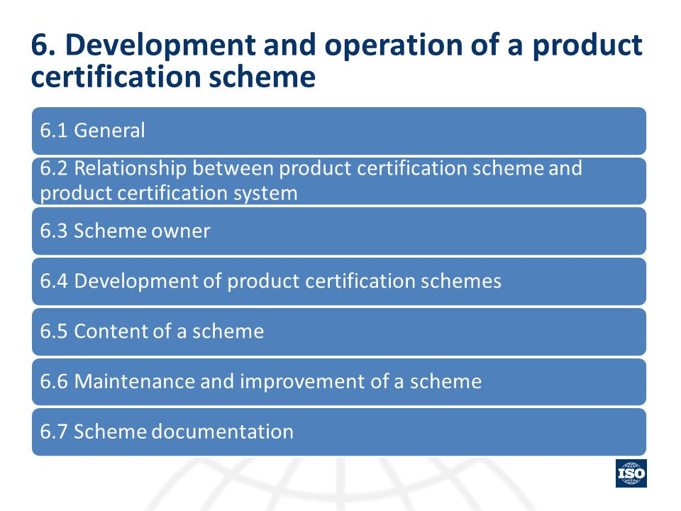 6. Development and operation of a product certification scheme