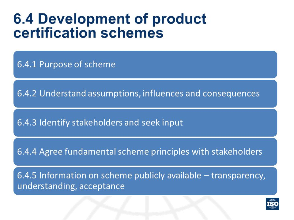 6.4 Development of product certification schemes