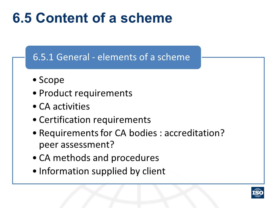 6.5 Content of a scheme Scope Product requirements CA activities