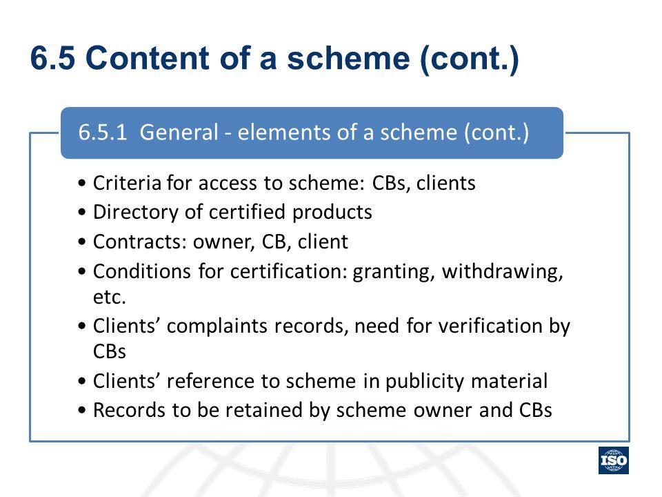 6.5 Content of a scheme (cont.)