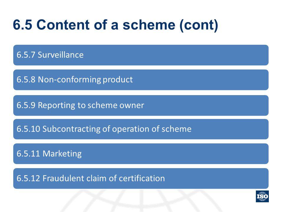 6.5 Content of a scheme (cont)