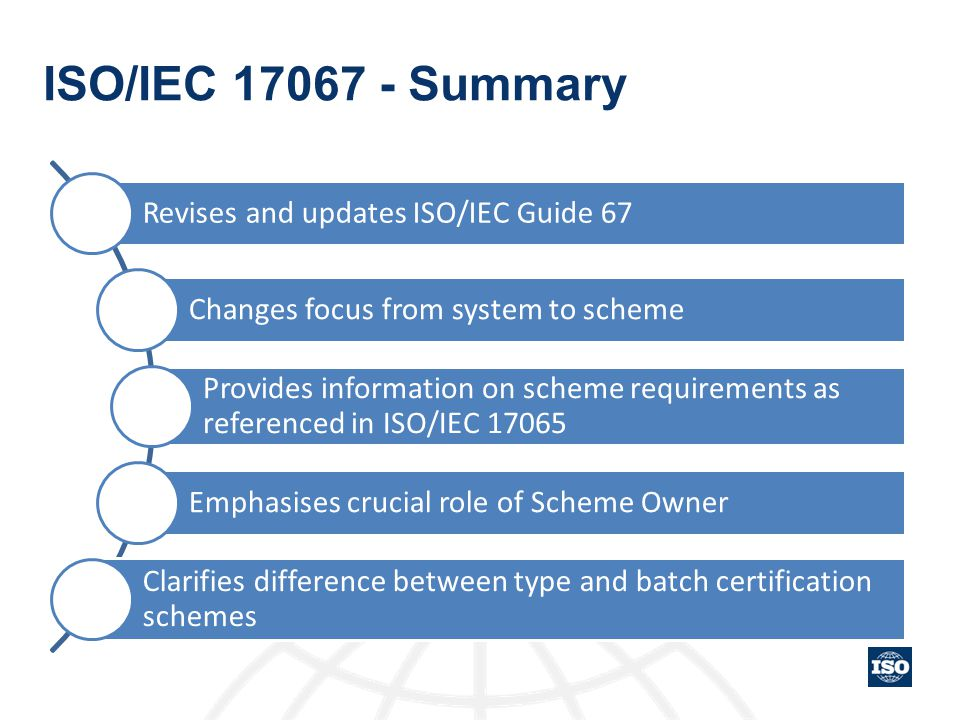 ISO/IEC 17067 - Summary Revises and updates ISO/IEC Guide 67