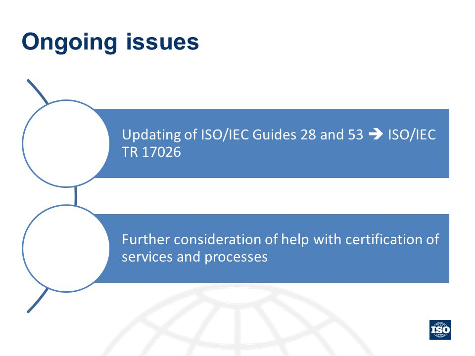 Ongoing issues Updating of ISO/IEC Guides 28 and 53  ISO/IEC TR 17026