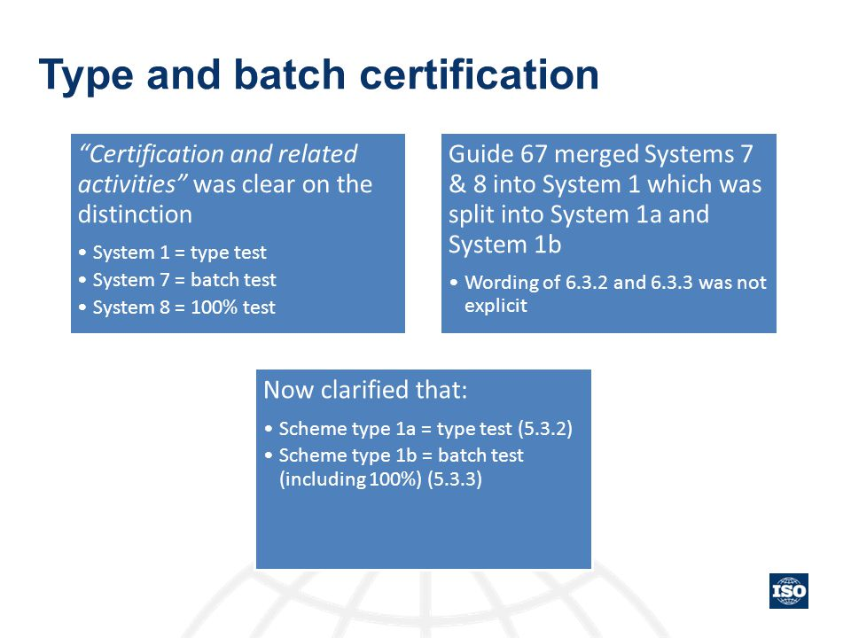 Type and batch certification
