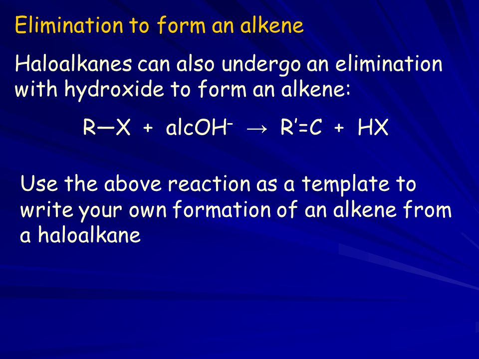 Elimination to form an alkene