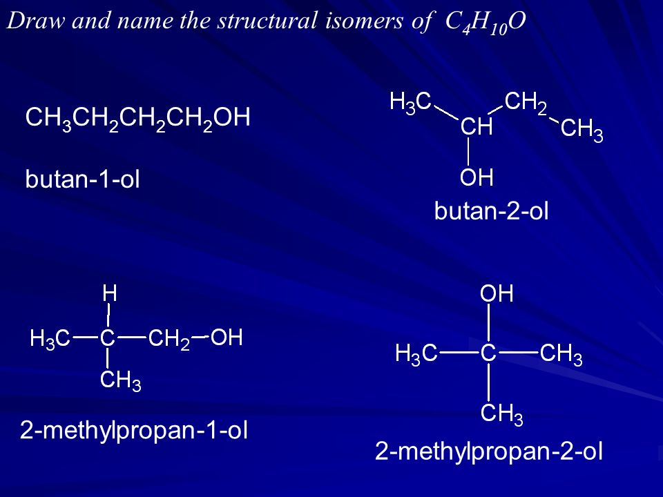 Draw and name the structural isomers of C4H10O