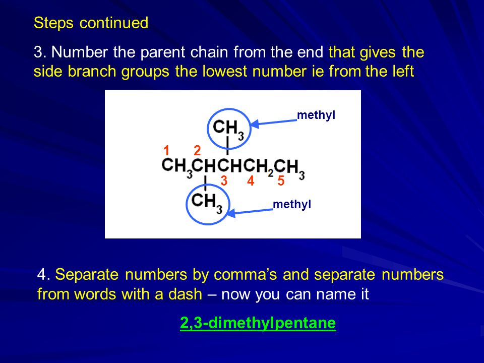 Steps continued 3. Number the parent chain from the end that gives the side branch groups the lowest number ie from the left.