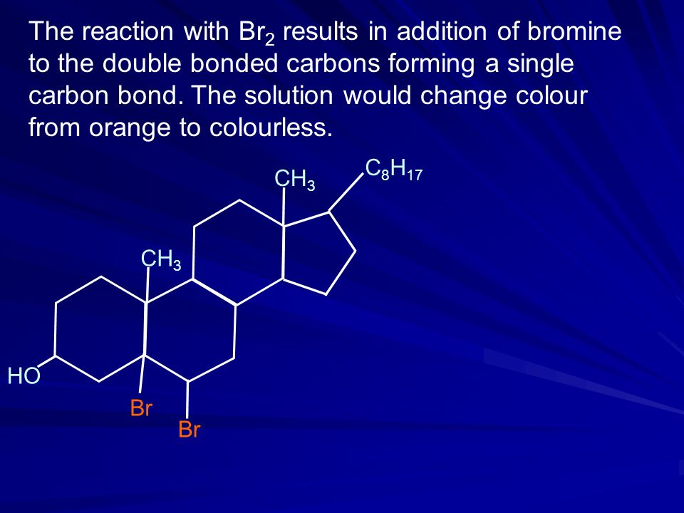 The reaction with Br2 results in addition of bromine to the double bonded carbons forming a single carbon bond. The solution would change colour from orange to colourless.