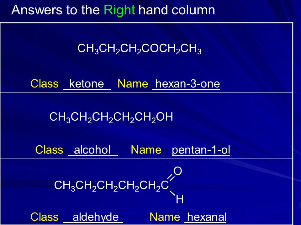 Answers to the Right hand column
