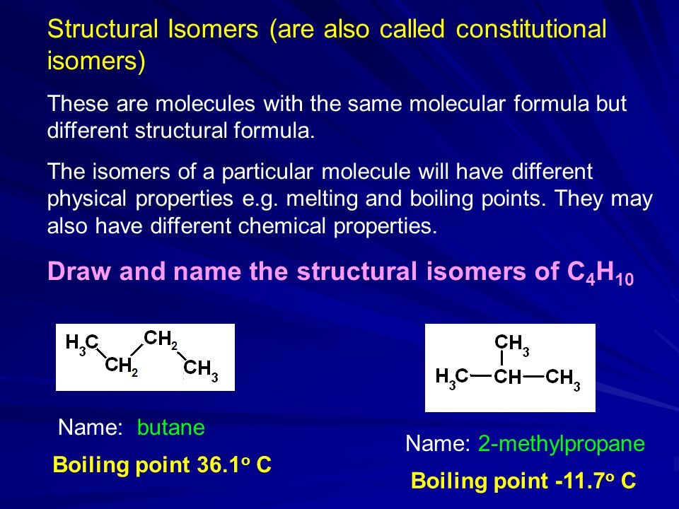 Structural Isomers (are also called constitutional isomers)