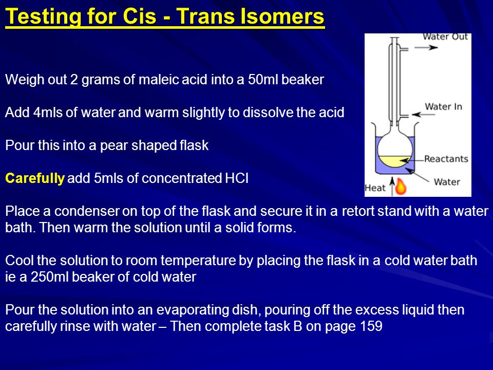 Testing for Cis - Trans Isomers