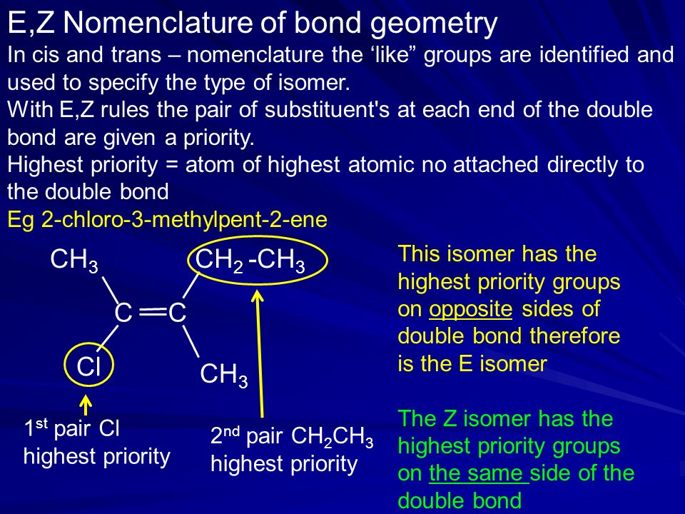 E,Z Nomenclature of bond geometry