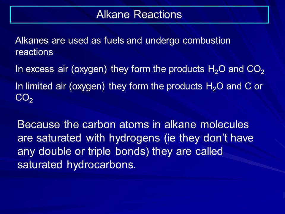 Alkane Reactions Alkanes are used as fuels and undergo combustion reactions. In excess air (oxygen) they form the products H2O and CO2.