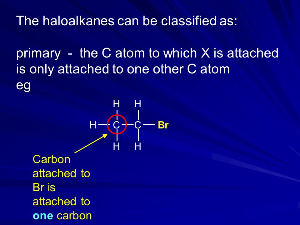 The haloalkanes can be classified as: