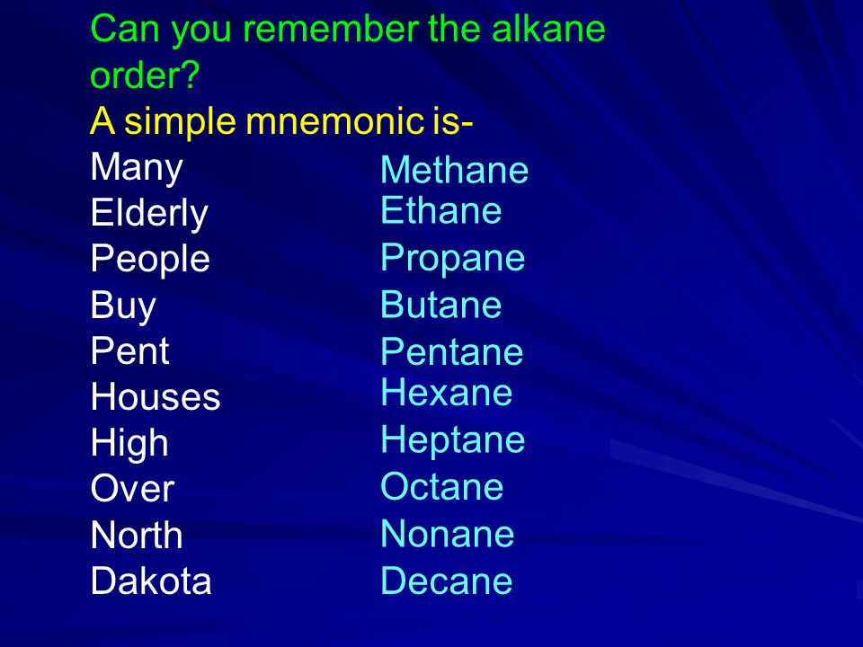 Can you remember the alkane order