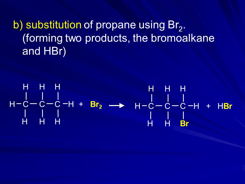 substitution of propane using Br2